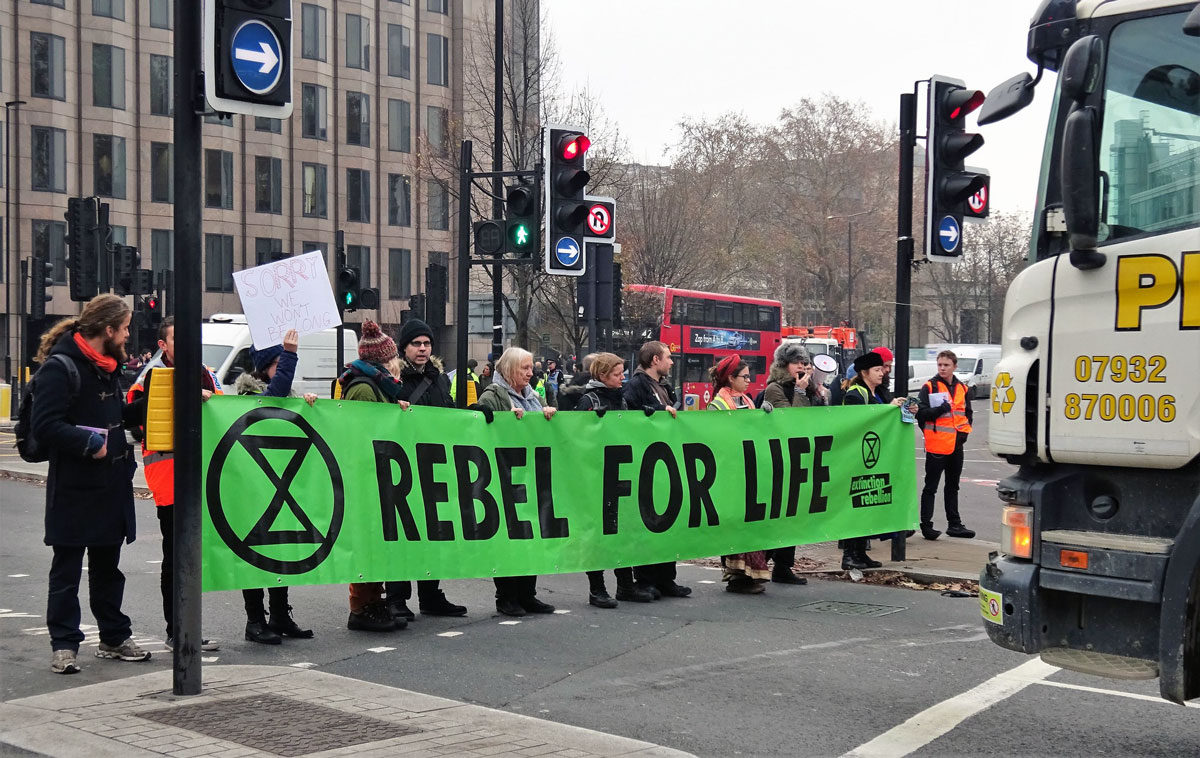 Straßenblockade von Extinction Rebellion in London.